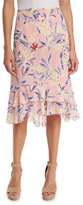 See by Chloe Tiered Floral Silk Skirt, Multicolor