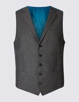 Marks And Spencer Grey Textured Slim Fit Waistcoat