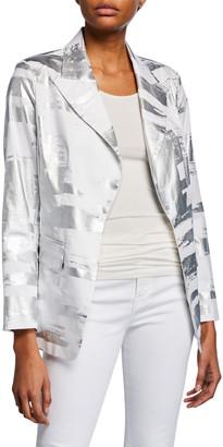 Berek Petite Notched Collar Foil Blazer