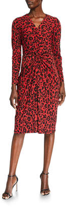 London Times Twisted-Front Long-Sleeve Printed Sheath Dress
