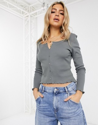 NA-KD organic cotton and recycled polyester ribbed button through top in grey