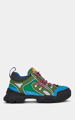 Gucci Men's Flashtrek Leather & Canvas Sneakers - Md. Green