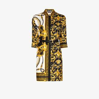 Versace Womens Yellow Barocco Fitted Shirt Dress