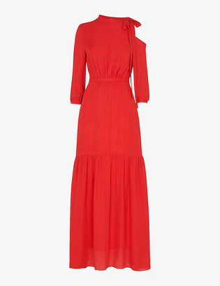 Whistles One-shoulder silk maxi dress