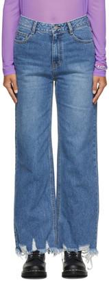 Sjyp Blue Destroyed Hem Jeans