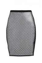 Quiz Black Grid Print Mesh Midi Skirt