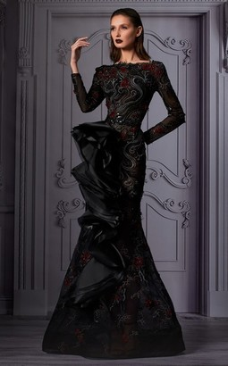 MNM Couture Front Ruffled Detail Gown