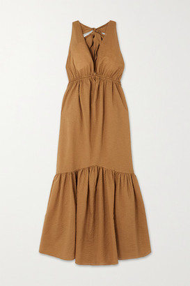 Marysia Swim Seashell Cotton-seersucker Halterneck Midi Dress - Tan