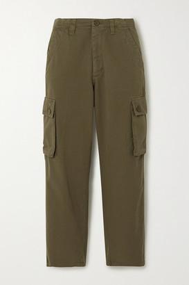 Maje Cropped Cotton-twill Straight-leg Cargo Pants