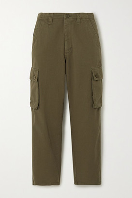 Maje Cropped Cotton-twill Straight-leg Cargo Pants - Army green