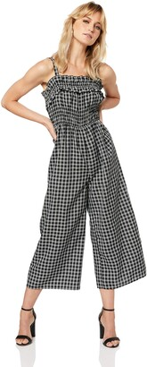 Finders Keepers findersKEEPERS Women's Merci Checkered Sleeveless Shirred Waist Wide Leg Jumpsuit