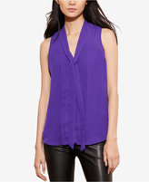 Lauren Ralph Lauren Pleated-Front Georgette Top