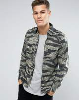 Replay Regular Fit Zip Thru Camo Shirt