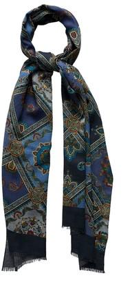 Eton Navy Medallion Fine Wool Scarf