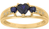 JCPenney FINE JEWELRY Lab-Created Sapphire and Diamond-Accent 3-Stone Heart Ring