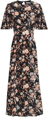Les Rêveries Cutout Floral-print Silk Crepe De Chine Midi Dress