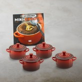 Le Creuset Stoneware 4-Piece Mini Cocotte Set with Cookbook