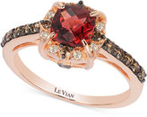 LeVian Chocolate by Petite Le Vian® Garnet (1-1/6 ct. t.w.) and Chocolate Diamond (3/8 ct. t.w.) Ring in 14k Rose Gold