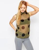 Ichi X Bimara Sheer Polka Dot Tank with High Neck