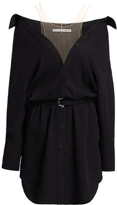 Alexander Wang Off-The-Shoulder Belted Wool Shirtdress