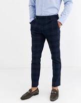 Rudie heritage check skinny fit suit trousers-Navy