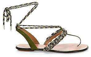Aquazzura Women's Surf Embellished Braided Suede Sandals