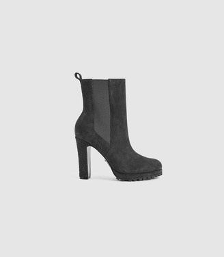 Reiss Amalia - Suede Heeled Ankle Boots in Charcoal Grey