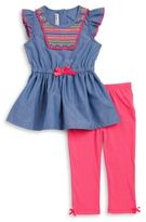 Kids Headquarters Little Girls Chambray Tunic and Leggings Set