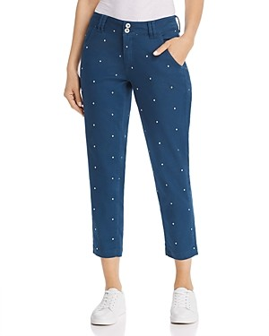 Jag Jeans Dot-Embroidered Cropped Pants