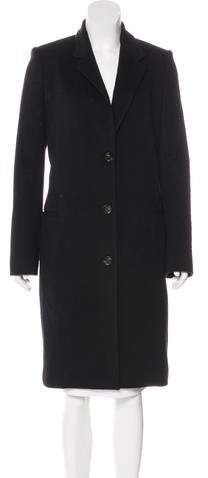 The Row Leather-Trimmed Wool Coat w/ Tags