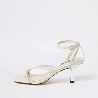 River Island White toe post mid heel sandals
