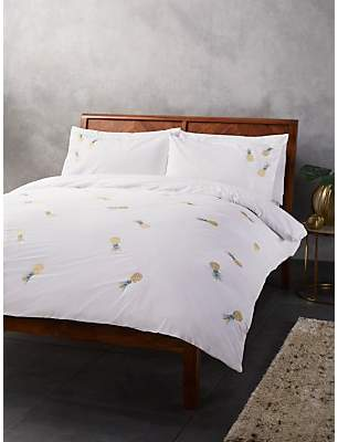 John Lewis & Partners Embroidered Pineapple Duvet Cover Set
