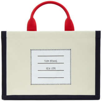 Thom Browne Off-White Canvas 4-Bar Tote