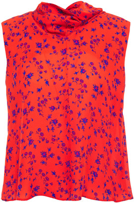 McQ Cutout Draped Floral-print Silk Crepe De Chine Top