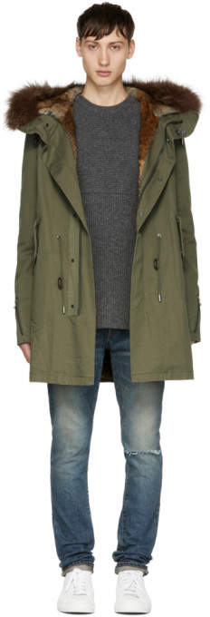 Yves Salomon Green Fur-Lined Hooded Parka
