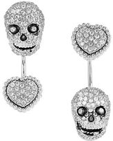 Betsey Johnson All That Glitters Cubic Zirconia Skull and Heart Front and Back Earrings