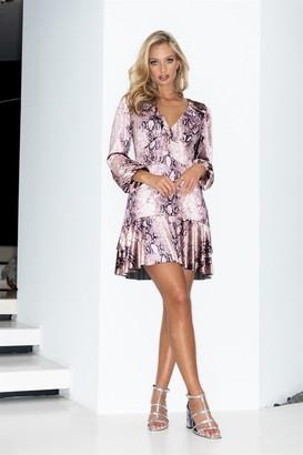 LIENA Pink Snakeskin Long Sleeve Frill Mini Dress