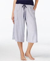 DKNY Wide-Leg Cropped Striped Pajama Pants