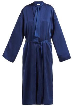 Worme - The Long Sandwashed-silk Robe - Navy