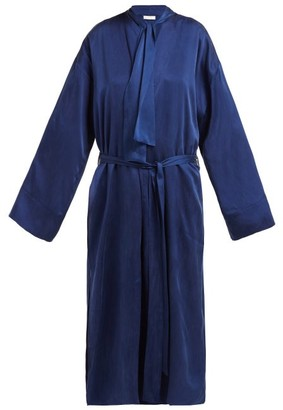 Worme - The Long Sandwashed Silk Robe - Womens - Navy