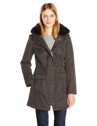 Kensie Women's Bonded Parka with Adjustable Waist Drawstring and Fully Removable Faux Fur Club Collar