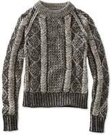 L.L. Bean L.L.Bean Signature Cotton Fisherman Sweater, Crewneck Plated