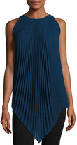 Max Studio Sleeveless Pleated Chiffon Tunic, Sapphire