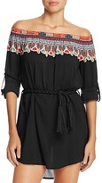 Red Carter Off-the-Shoulder Belted Dress Swim Cover-Up