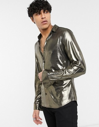 Twisted Tailor metallic shirt in gold