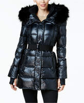 Calvin Klein Faux-Fur-Trimmed Belted Puffer Coat