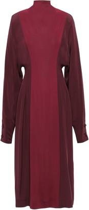 Victoria Beckham Two-tone Silk Crepe De Chine And Twill Turtleneck Midi Dress