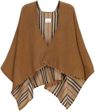 Burberry Icon Stripe Wool Cape