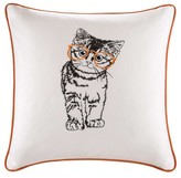 "Nobrand No Brand Artemis Cat Embroidered Cotton Throw Pillow - Orange (20x20"")"