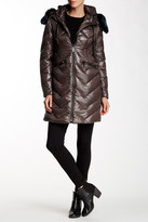 Vince Camuto Faux Fur Collar Mid Length Down Jacket